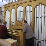 Duncan playing the organ