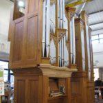 organ being erected in workshop