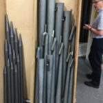More reed and flue pipes ready for bringing back to Wellington, and Duncan Matthews, Harrison's works manager, on the right.