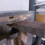 woodworm on very bottom base of the organ