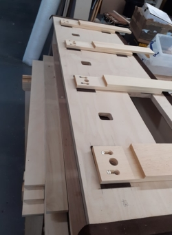 bottom boards of the double open chest showing bedding and motor bottoms slot screwed in place.