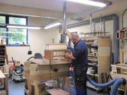 Geoff Pollard testing front pipe machines