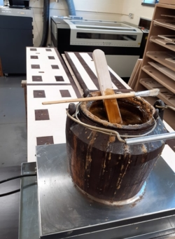 bottom boards of the double open chest and glue pot