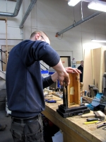 Tom working on the 16ft Trombone boots