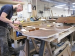 screen console panels being stained