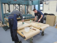 gluing jamb panels together ready to curve to shape